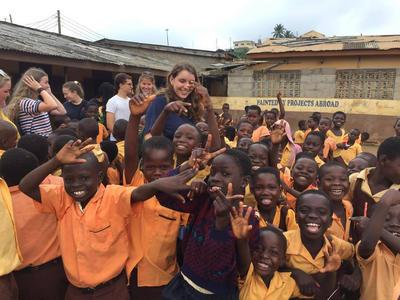Medicine volunteers working with local school children