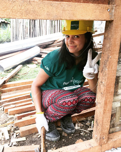 Bushra at her Building Project in the Philippines