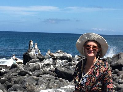 Catherine spending time by the sea on the Galapagos Islands