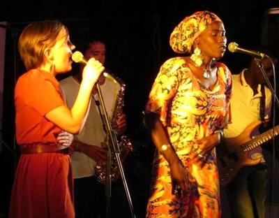 Volunteer joins in a music show in Senegal