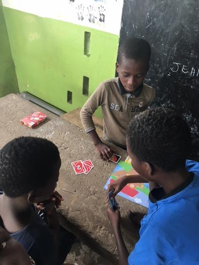 The kids playing UNO in Togo