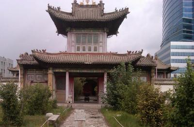 Temple and modern building
