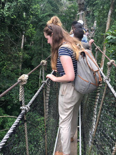 Volunteers enjoying a canopy tour at a nature reserve in Ghana