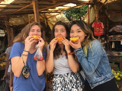 Eating fruit in Kenya