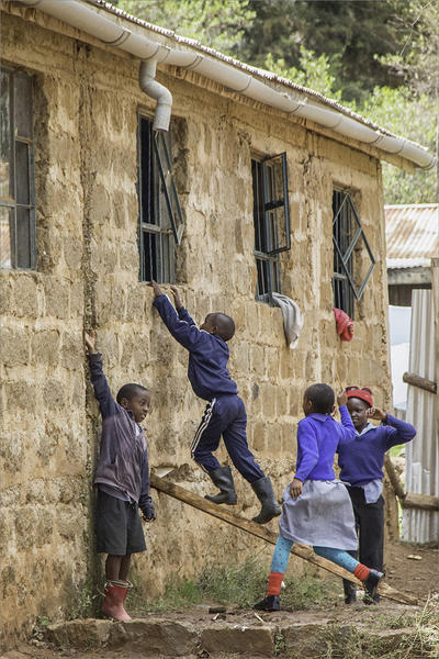 The children playing outside in Kenya