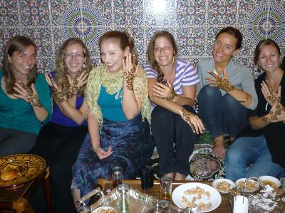Henna tattoos at host family