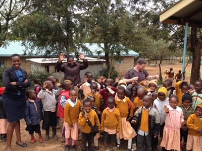 Students and teachers from a school in Kenya