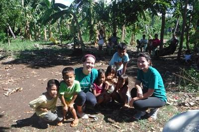 Playing with the children after outreach activities