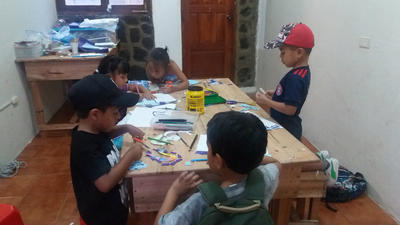 Local children during an arts and crafts class
