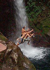 Waterfall jumping!