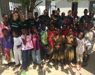 Care volunteer with the children in Tanzania