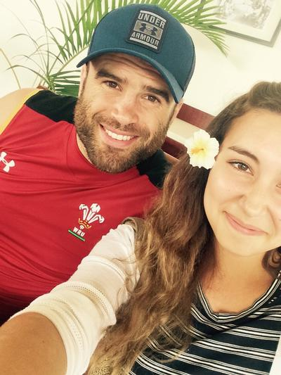 Emily with a welsh rugby union player