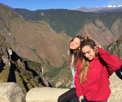 Volunteers exploring the sites in Peru