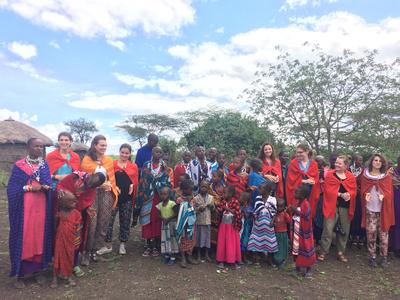 The volunteers visiting a Maasai Village in Tanzania