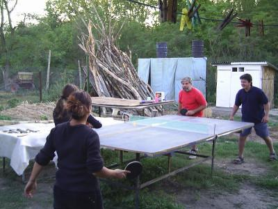 A quick game of table tennis