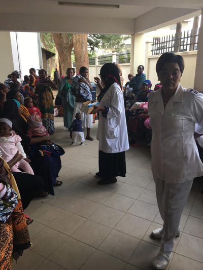 Patients wait to be seen at a hospital in Tanzania