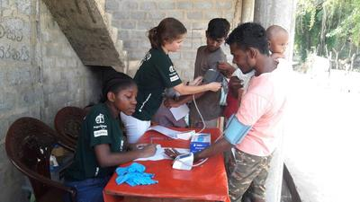 Volunteers at a medical outreach