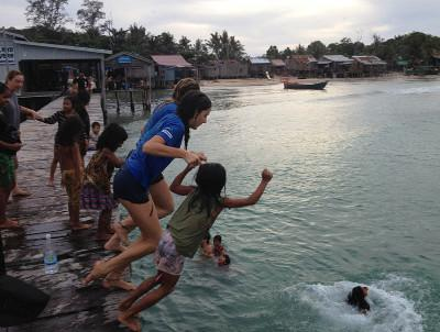 Volunteers go swimming in Cambodia