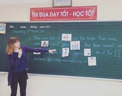 Gina teaching a class in Vietnam