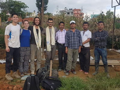 Volunteers and local staff at the Building Project in Nepal