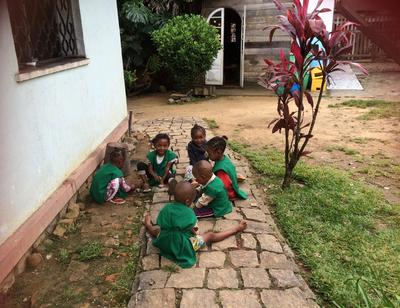 Children from the early childhood development centre started by Projects Abroad