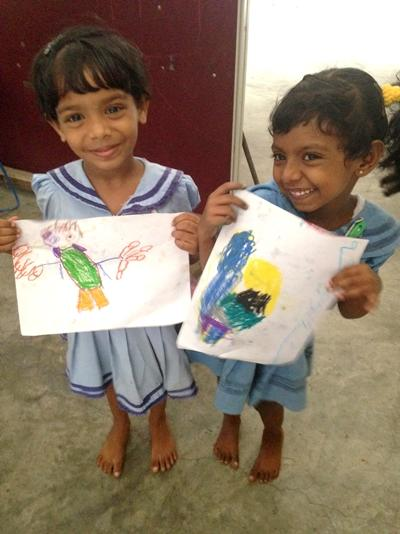 Sri Lankan children show off their art work