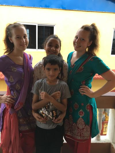 Volunteers with their host family