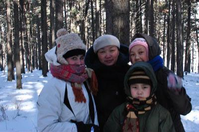 With hosts in the snow