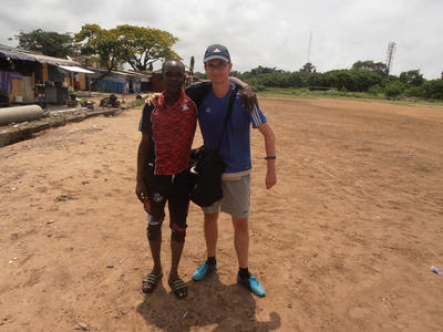 Julien with a local staff member at his placement
