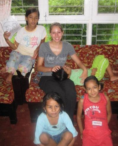 With children at host family