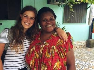 Kathryn with her host mother in Togo