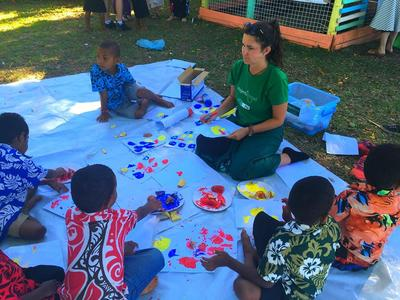 Doing arts and crafts at a kindergarten in Nadi