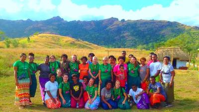 Volunteers and local people after an outreach in Fiji