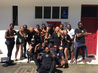 Volunteers and local staff at the Shark Conservation Project