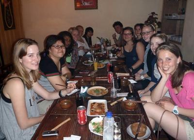 Volunteers enjoy a traditional Vietnamese meal