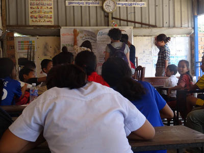 Public Health volunteers education a class on the importance of hygiene