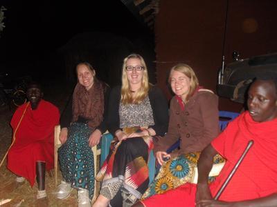 Human Rights volunteers visit a Maasai village