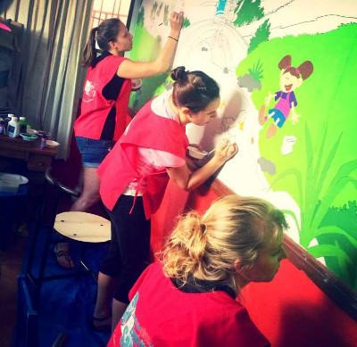 Painting a Mural at the Day Care
