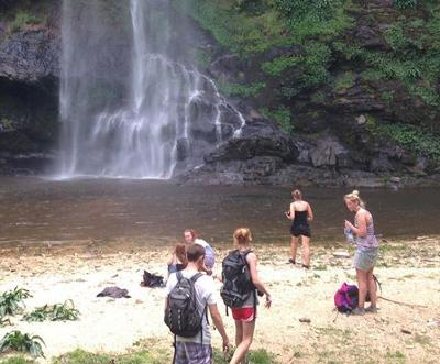 Volunteers at a local waterfall