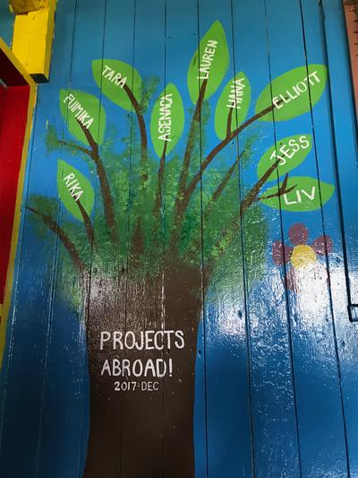 A colourful mural painted by volunteers