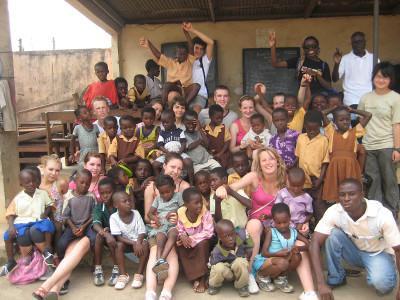 Volunteers and kids