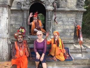 Linda with the holy men in Nepal