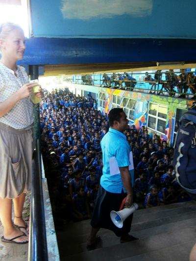 Volunteer teaching at a school in Fiji
