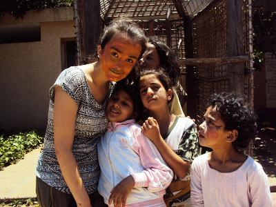 Me with children in Morocco