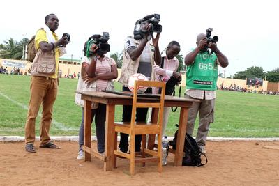 Local journalists from a radio station in Lome