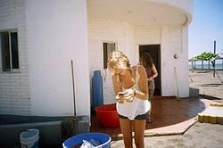 Getting ready to release newly hatched turtles