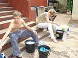 Tom and Dan doing laundry