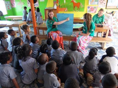Volunteers run shark awareness campaigns in local Fiji schools