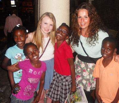 With the children in Jamaica