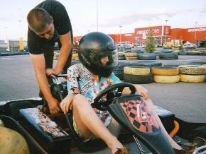 Go-karting with other volunteers